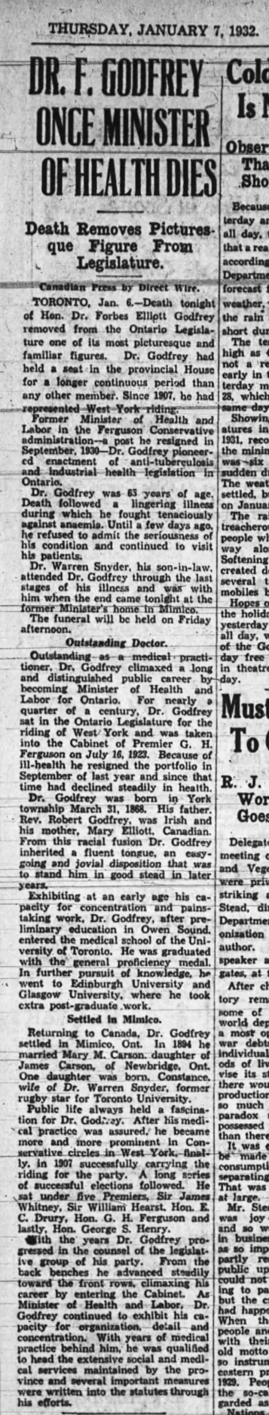 Forbes Godfrey dies - THURSDAY. JANUARY 7, 1932. Is OF HEALTH DIES...