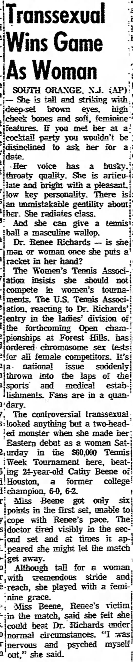Transsexual Tennis Player, 9/23/76 - Divi- Ox- Transsexual Wins Game As Woman 1 New...