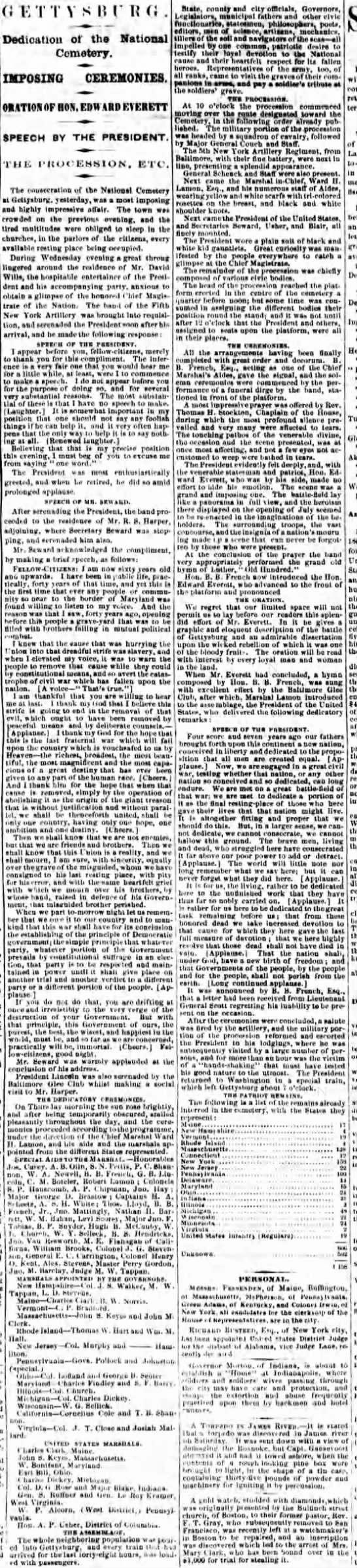 National Republian, Washington, DC Friday, Nov 20, 1863, p.2