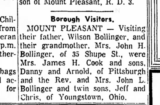 Bollinger Visits 1961 - from p.m. bags accumulating for son of Mount...