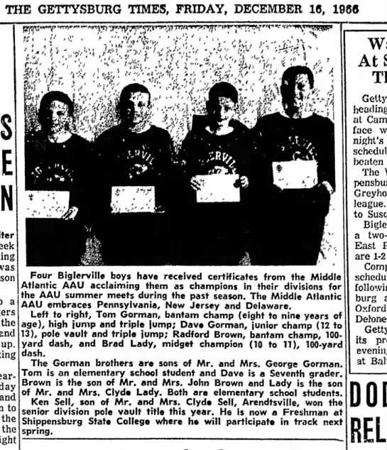 Middle Atlantic AAU Champion 1966 Ken Sell - THE GETTYSBURG TIMES, FRIDAY, DECEMBER 18, 1988...