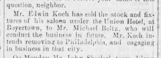 Michael Beltz - question, neighbor. Mr. F.J win Koch has sold...