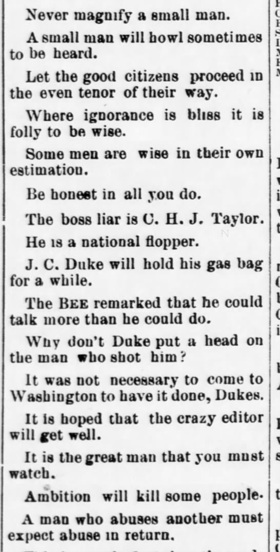 1891-02-28-WashingtonBee-p1-[TaylorNotes] - Never magnify a small man. A small mau will...