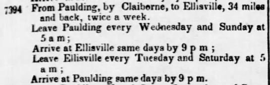 Proposed Mail Schedule 1854 - -394 From Paulding, by Claiborne, to...