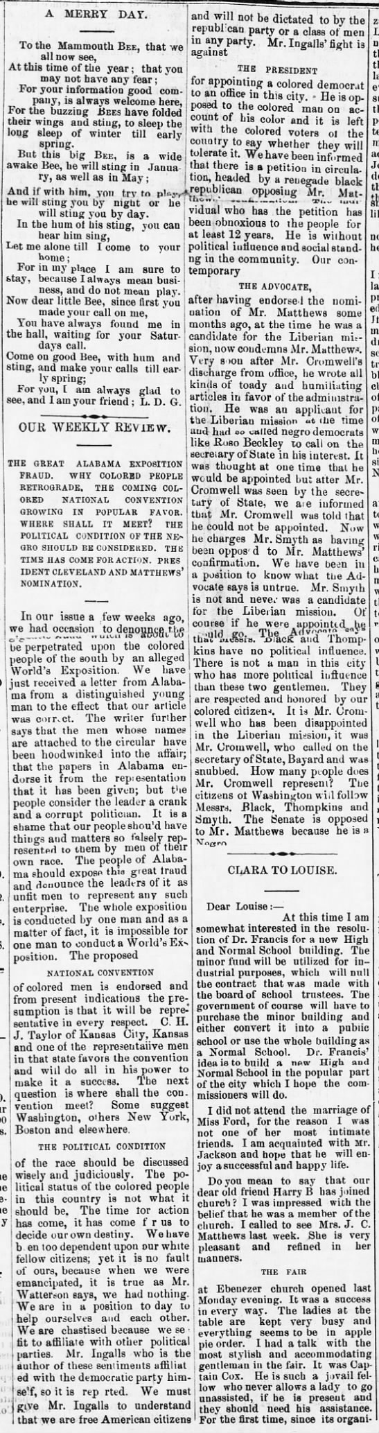 1886-12-25-WashingtonBee-p1-OurWeeklyReview - A MERRY DAY TO the Mammouth Bee, that we all...