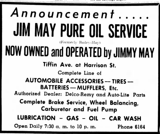 1955 Announcement of Jim May Pure Oil - 594 656 649 j i high singles Announcement JIM...