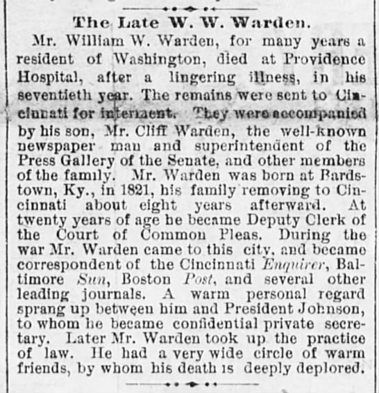 - The, Late AV. W. Warden. Mr. William W. Warden,...