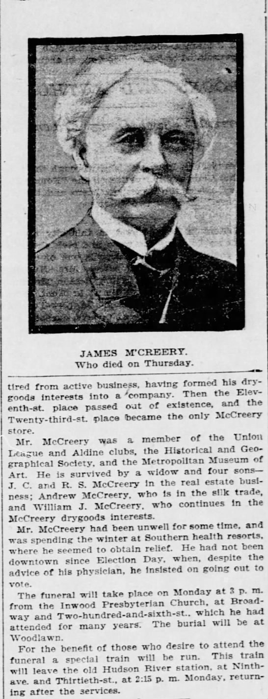 James Mccreery - JAMES M'CREERT. Who died on Thursday. tired...