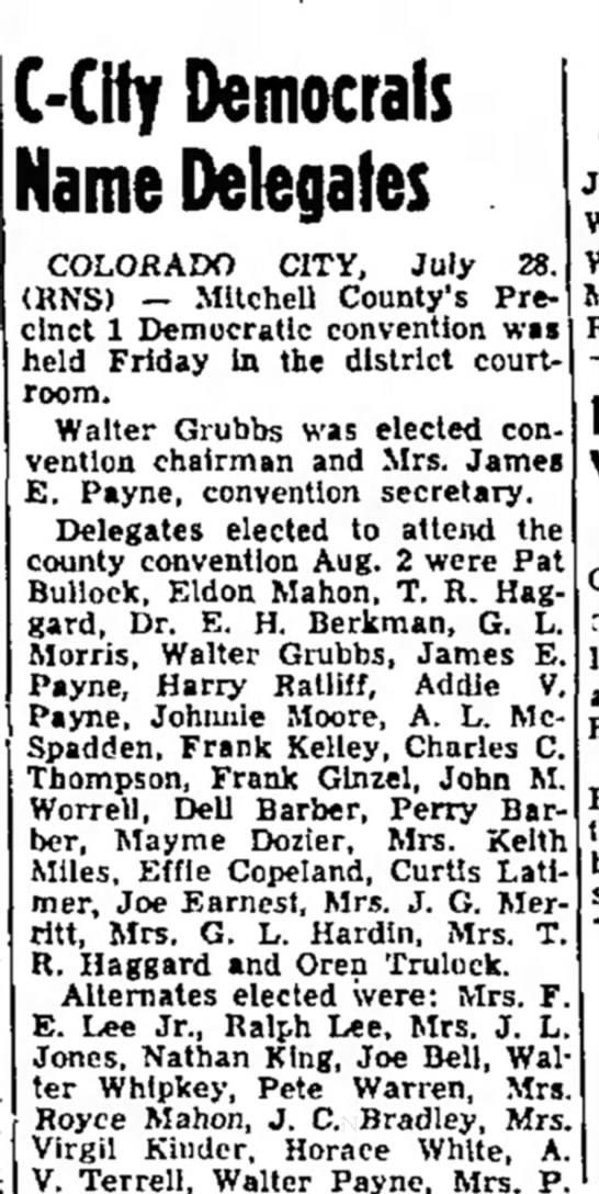 Abilene Reporter-News 7-29-52 - the by ol may I N G !-City Democrats Name...