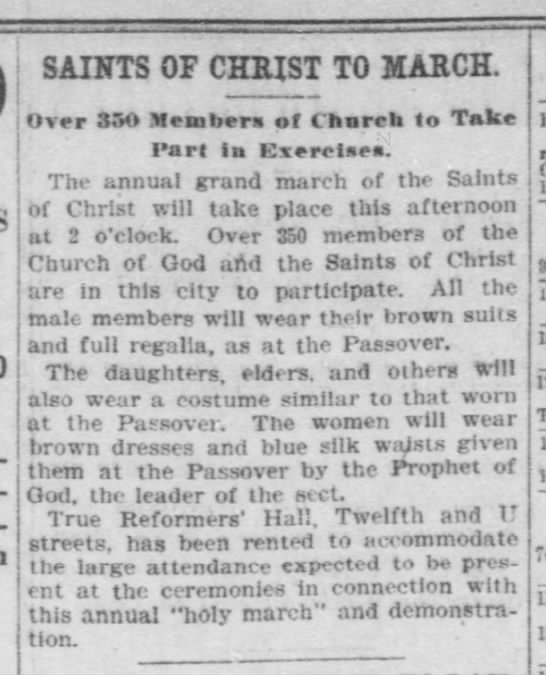 washington herald 4 nov 1906 - ¬ SAINTS OF GKft OHRST ST TO JIARCH JIARCHOver...