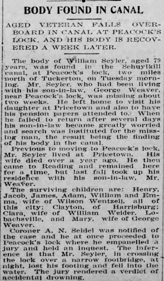 William Seyler obituary, Reading Times 9 Nov 1904 edition, page 6 - BODY FOUND IN CANAL AGED VETERAN FALLS...