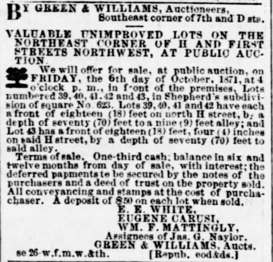 Evening Star (Wash DC) 5 Oct 1871 - w X GREEN A WILLIAMS, Auctioneers, Boutheast...