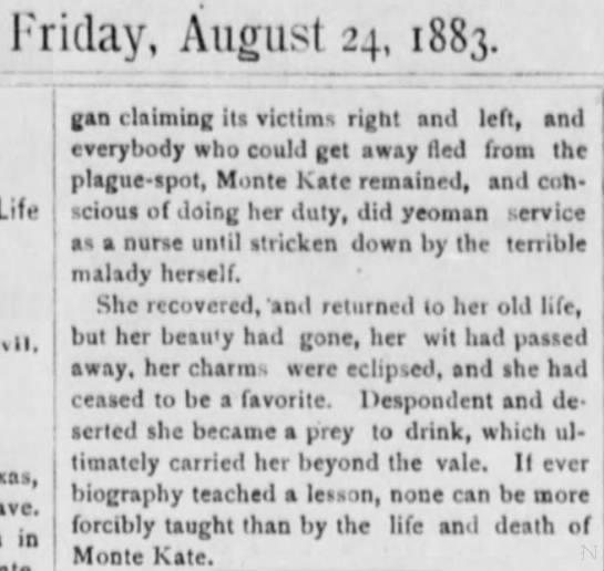 monte kate II - Friday, August 24, 1883. Life IMI, in gan...