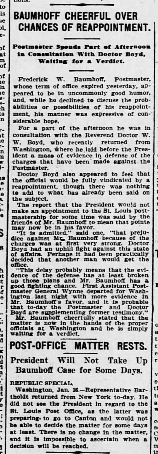 Fred Baumhoff and Reappointment as PM by TR - to of at of of in in BAUMH0FF CHEERFUL OVER...
