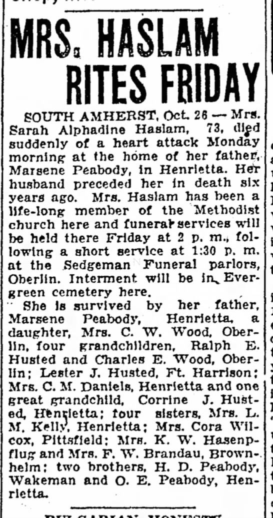 Sarah A Peabody d27Oct1932 - MRS: HASLAM RITES FRIDAY SOUTH AMHERST, Oct 26...