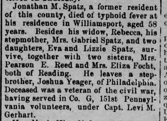 Spatz, brother of Eliza Focht - Jonathan M.Spatz, a former resident of this...
