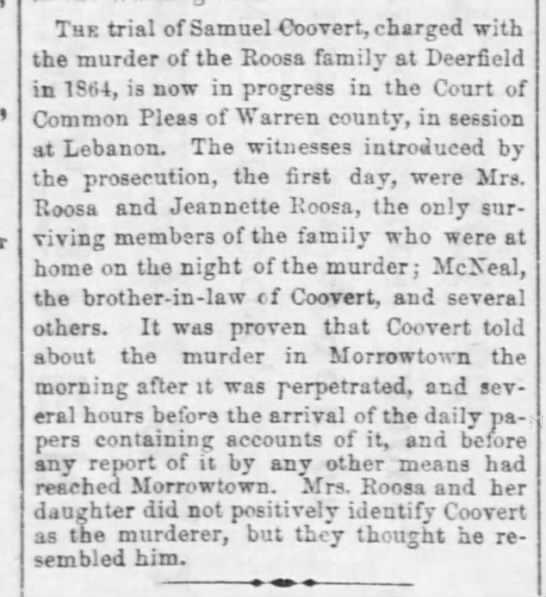 Cleveland Daily Leader Mar 5, 1866 - The trial of Samuel Coovert, charged with the...