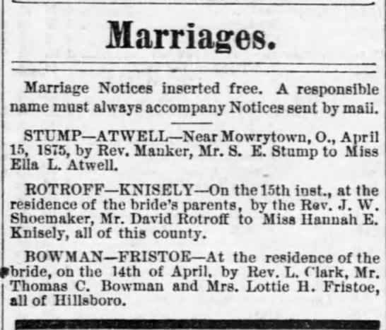 Rotroff_David_29apr1875 - Marriages. Marriage Notices inserted free. A...