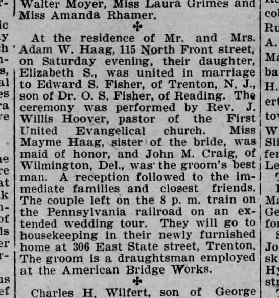 Wedding, daughter of Adam W. Haag - - - of - Walter Moyer, Miss Laura Grimes and...