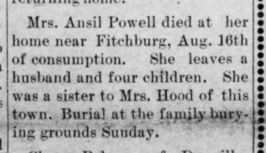 Mrs. Ansil D Powell death - Mrs Ansil Powell died at her home near...