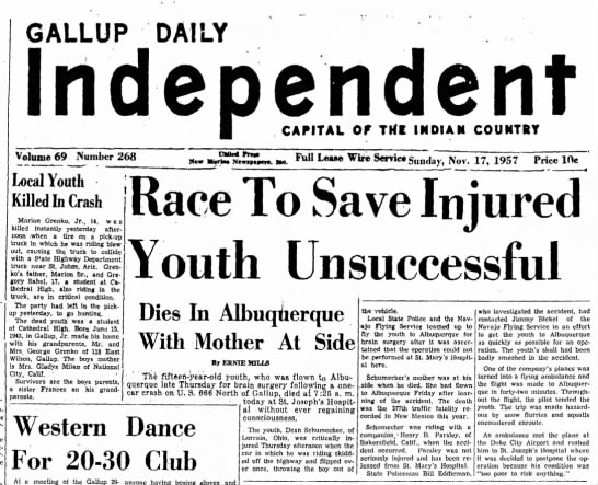 17 Nov 1957 Gallup Ind St Trooper Wm Eddleman - GALLUP DAILY Independent Volume 69 Number 268...