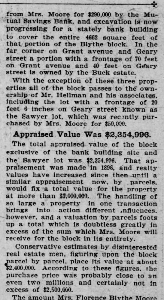1901-06-09 SF Call - . ._ ' ' .from : Mrs. Moore . for ¦ $290,000...