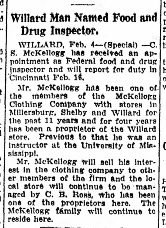 C S McKellogg - 5 Feb 1931