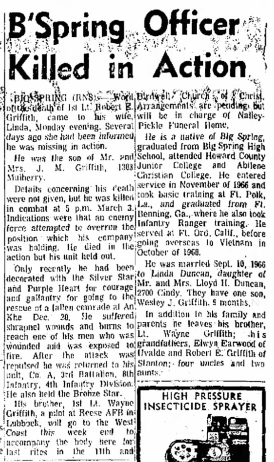 Robert Elwin Griffith - Linda, Monday even'ng. Several Pickle Funeral...
