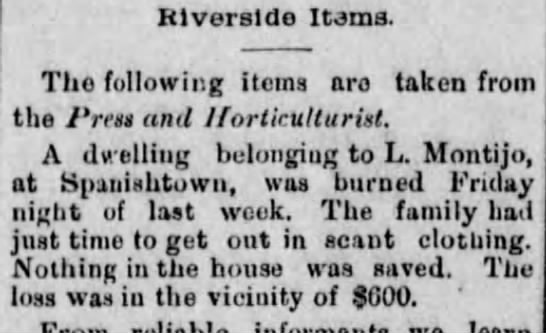 L Montijo 20 Aug 1884 - Riverside Items. The following items aro taken...