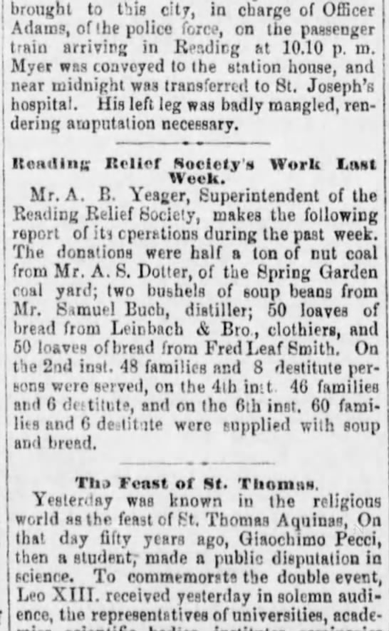 A.S. Dotter, donation of nut coal to Reading Relief Society, 3-8-1880 - brought to t'lis city, in charge of Officer...