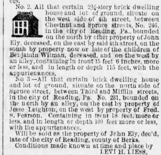 Description of land adjoining Benjamin Witman or ?? - ces. All that certain 2 - story brick dwelling...