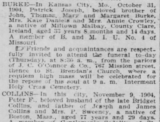 - BURKE — In Kansas City, Mo.. October 31, 1904....