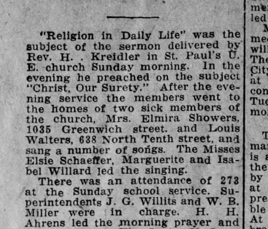 "Elmira Showers serenaded - ""Religion In Daily Life"" was the subject of the..."