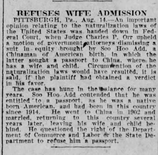 American-born Chinese man refused passport to return to China to get wife and child - TIKFTSKS WIFE ADMISSION riTTSBntr.H. Vs.. AiiC....