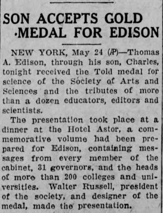 Reading Times (Reading, Pennsylvania) 25 May 1928  Page 1 - SON ACCEPTS GOLD MEDAL FOR EDISON NEW YORK, May...