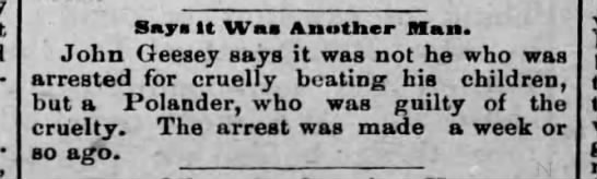 John Geesey denies beating child and says it was a Polander who did it Jun, 1888 Reading, PA - Bays tt Was Another Man. John Geesey says it...