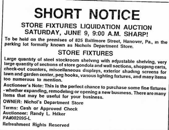 - Bendersville SHORT NOTICE STORE FIXTURES...