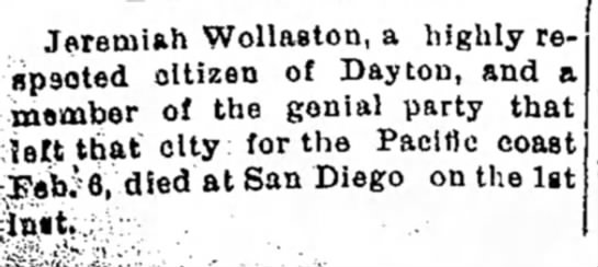 The Piqua Daily Call, Piqua, OH 3-5-1894 Jeremiah Wollaston Death