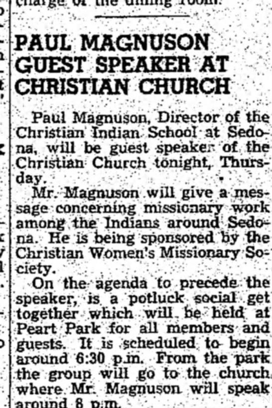 - PAUL MAGNUSON GUEST SPEAKER AT CHRISTIAN CHURCH...