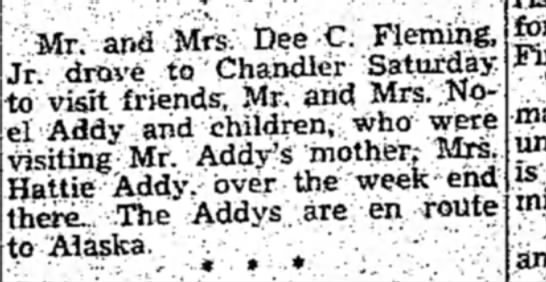 Addy Hattie 19 Aug1954 p3 - Mr. and Mrs. Dee C. Fleming, Jr drove to...