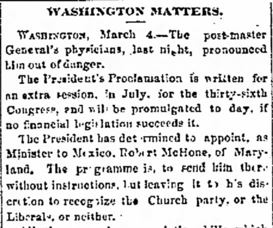 The Manitowoc Herald Manitowoc, WisconsinThursday, March 10, 1859  - WASHINGTON MATTERS. vTAsnr't;T03, March 4. Tbc...