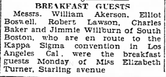 Breakfast Guests - BRE\KFAST GUESTS Messrs. William Akerson....