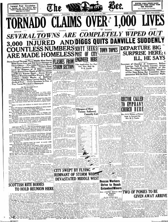 Tri-State Tornado 1925 - Tom Malmay - Largest Paid Circulation In Danville and Fifth...
