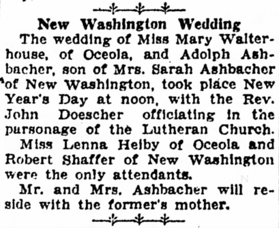 Wedding Mary Walterhouse, Adolph Ashbacher. 1/1/1934 - 20—.[--^Ii-*- New \Vashlngton 'Wedding The...
