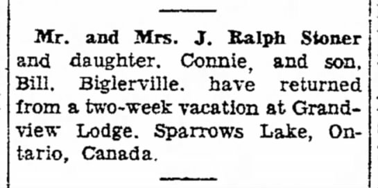 Grandview Lodge News - Mr. and Mrs. J. Ralph S to and daughter....