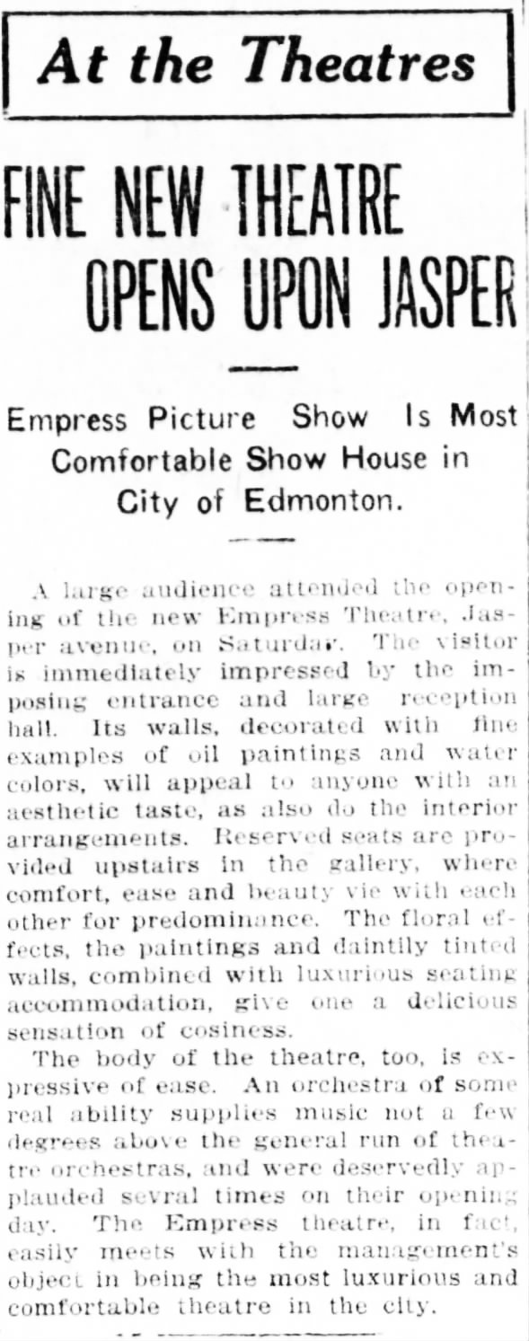 Empress theatre opening