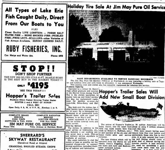 Jim May Pure Oil article and ad - All Types of Lake Erie Fish Caught Daily,...