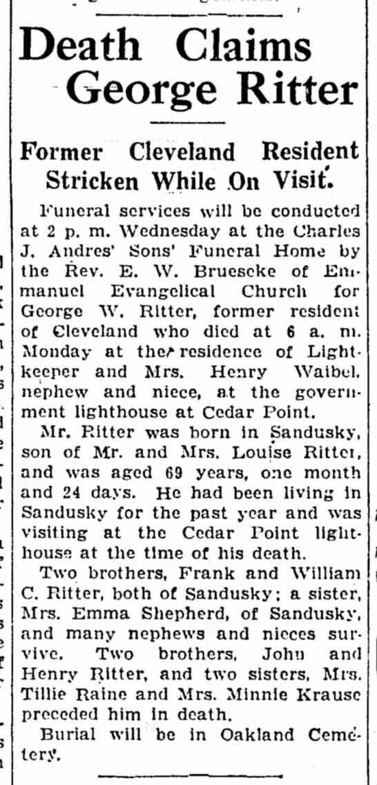 George Ritter's Obit - Death Claims George Ritter Former Cleveland...