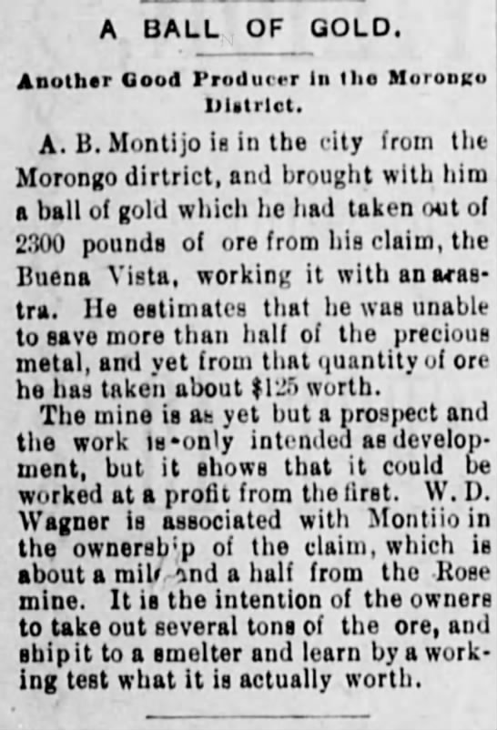 A.B.Montijo - 1896 - A BALL OF GOLD. Another Good Producer In the...