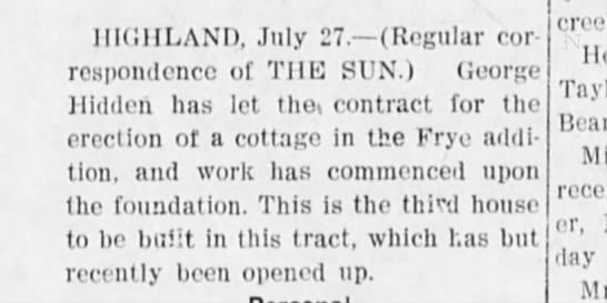 Frye Addition Hidden cottage 1905 - HIGHLAND, July 27. (Regular correspondence...